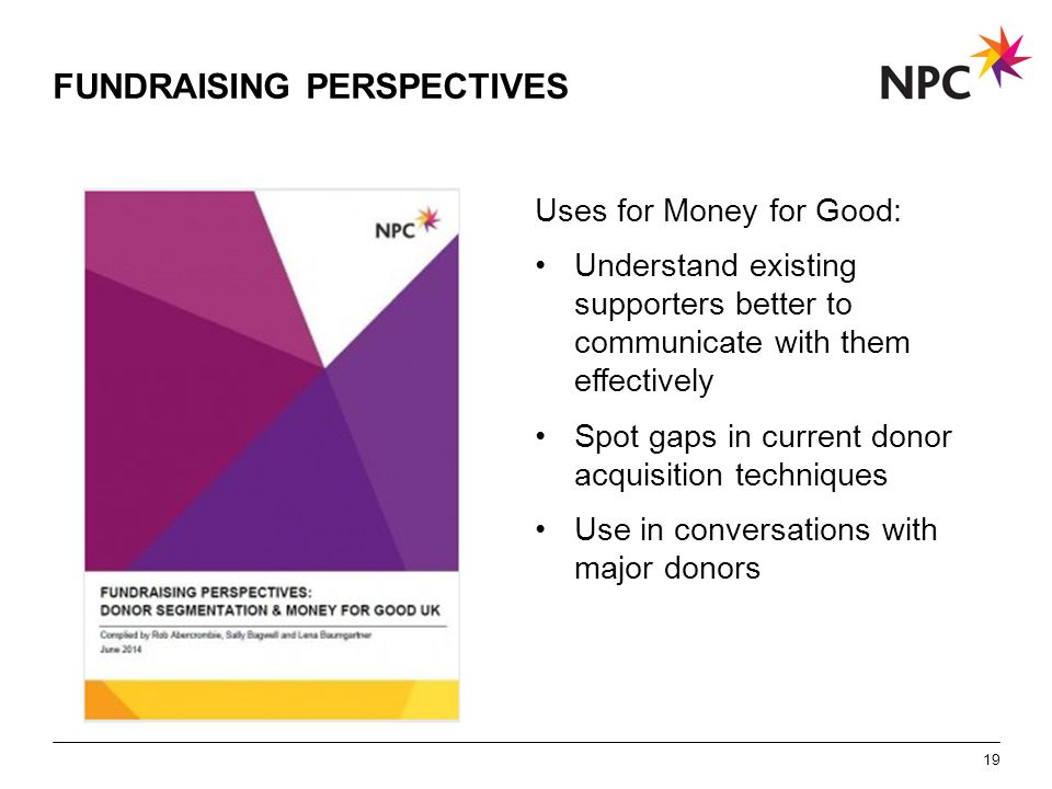 X AXIS LOWER LIMIT UPPER LIMIT CHART TOP Y AXIS LIMIT FUNDRAISING PERSPECTIVES Uses for Money for Good: Understand existing supporters better to commu