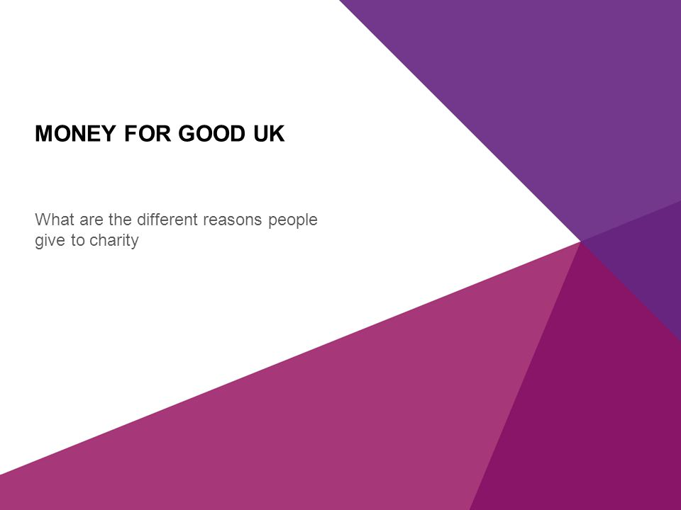 X AXIS LOWER LIMIT UPPER LIMIT CHART TOP Y AXIS LIMIT MONEY FOR GOOD UK What are the different reasons people give to charity