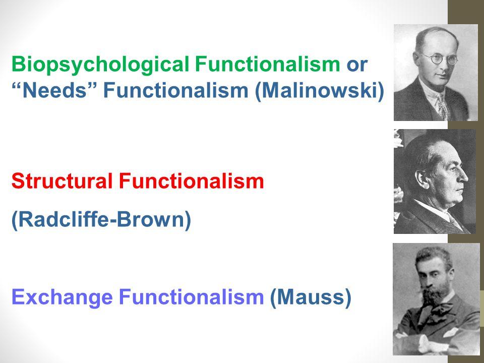 Biopsychological Functionalism or Needs Functionalism (Malinowski) Structural Functionalism (Radcliffe-Brown) Exchange Functionalism (Mauss)