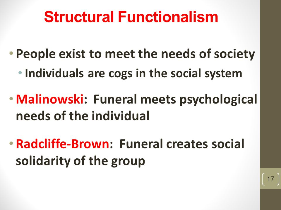 Structural Functionalism People exist to meet the needs of society Individuals are cogs in the social system Malinowski: Funeral meets psychological needs of the individual Radcliffe-Brown: Funeral creates social solidarity of the group 17