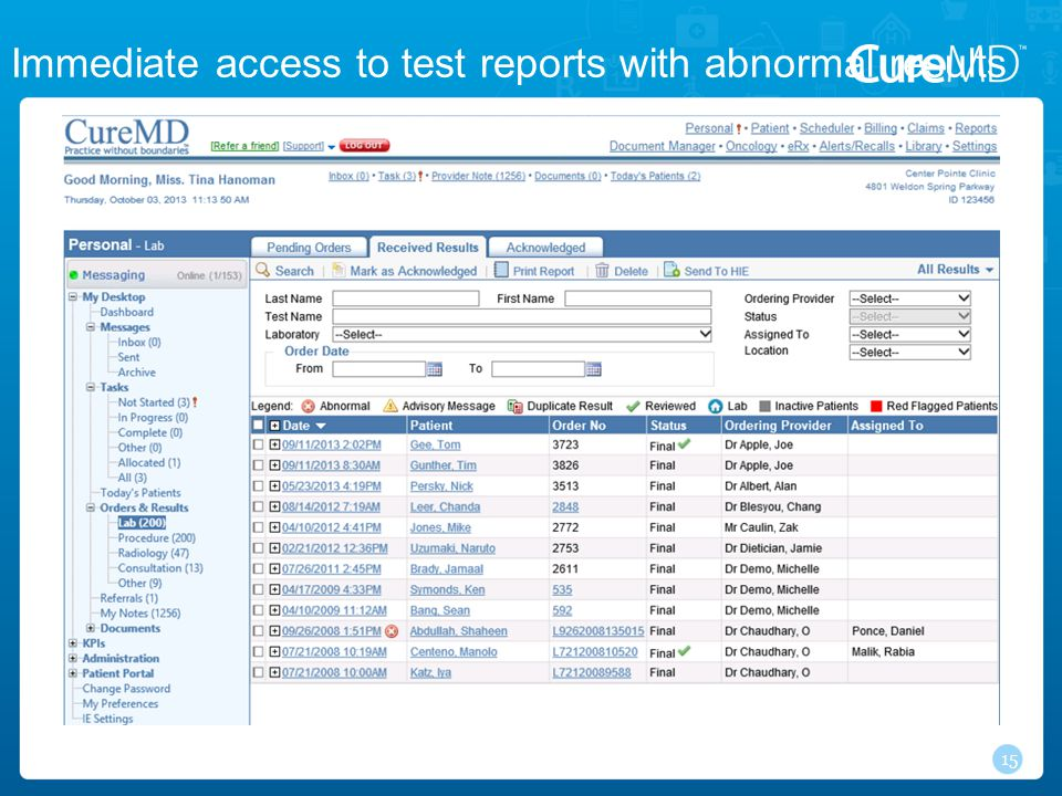 15 Immediate access to test reports with abnormal results