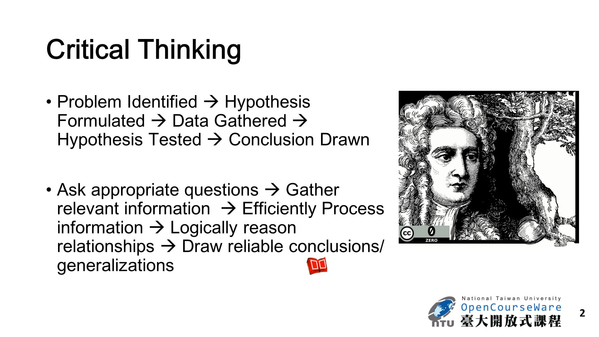 2 Critical Thinking Problem Identified  Hypothesis Formulated  Data Gathered  Hypothesis Tested  Conclusion Drawn Ask appropriate questions  Gath