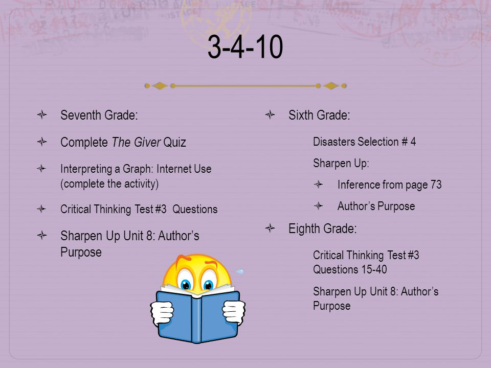 3-4-10  Seventh Grade:  Complete The Giver Quiz  Interpreting a Graph: Internet Use (complete the activity)  Critical Thinking Test #3 Questions  Sharpen Up Unit 8: Author's Purpose  Sixth Grade:  Disasters Selection # 4  Sharpen Up:  Inference from page 73  Author's Purpose  Eighth Grade:  Critical Thinking Test #3 Questions 15-40  Sharpen Up Unit 8: Author's Purpose