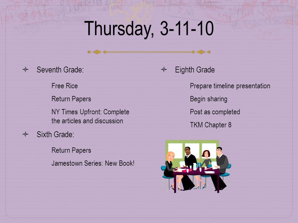 Thursday, 3-11-10  Seventh Grade:  Free Rice  Return Papers  NY Times Upfront: Complete the articles and discussion  Sixth Grade:  Return Papers  Jamestown Series: New Book.