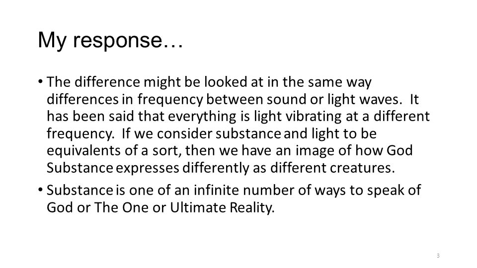 My response… The difference might be looked at in the same way differences in frequency between sound or light waves.