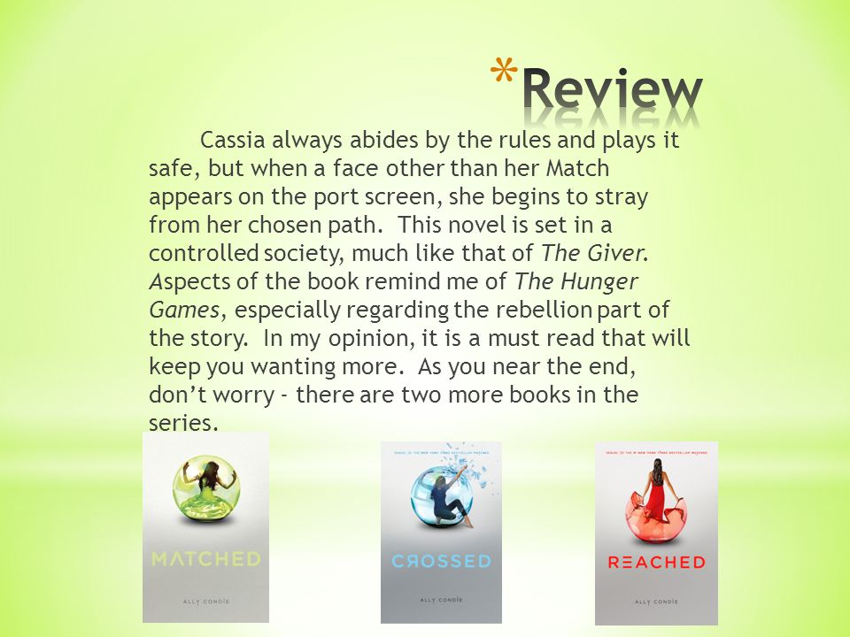 Cassia always abides by the rules and plays it safe, but when a face other than her Match appears on the port screen, she begins to stray from her cho