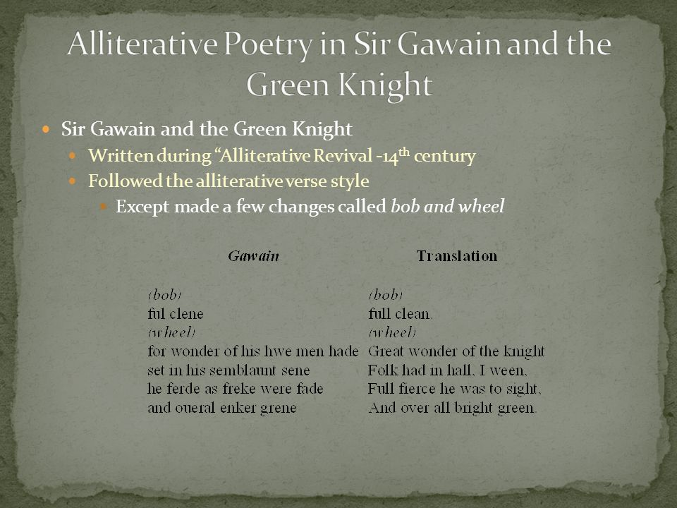 Germanic Anglo-Saxon Poetry Old English language Alliterative Poetry used instead of usual rhyme schemes Usually three alliterations in every line Ex.
