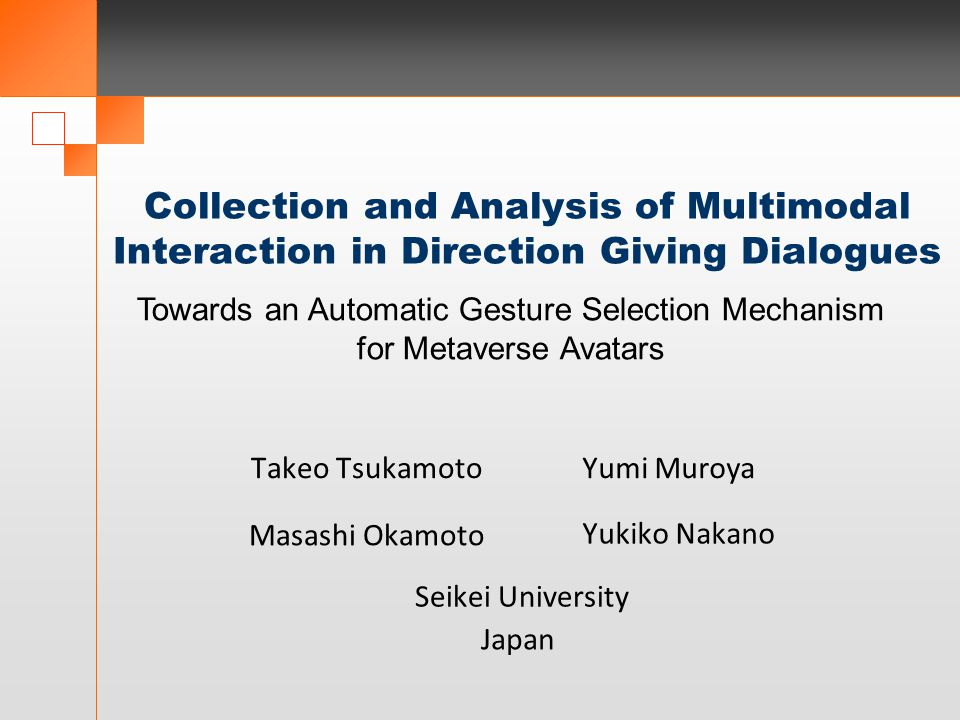 Collection and Analysis of Multimodal Interaction in Direction Giving Dialogues Seikei University Takeo TsukamotoYumi Muroya Masashi Okamoto Yukiko Na