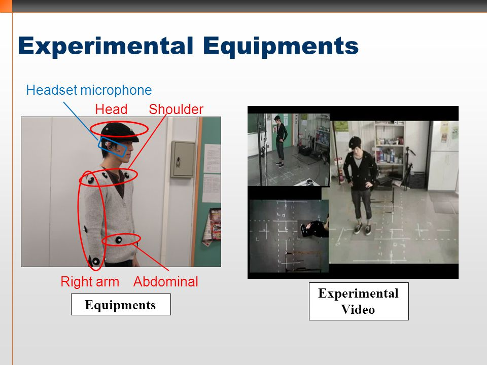 Experimental Equipments Right armAbdominal HeadShoulder Headset microphone Equipments Experimental Video