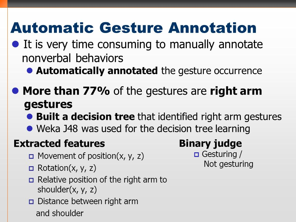 Automatic Gesture Annotation Extracted features  Movement of position(x, y, z)  Rotation(x, y, z)  Relative position of the right arm to shoulder(x