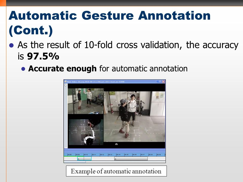 Automatic Gesture Annotation (Cont.) As the result of 10-fold cross validation, the accuracy is 97.5% Accurate enough for automatic annotation Example