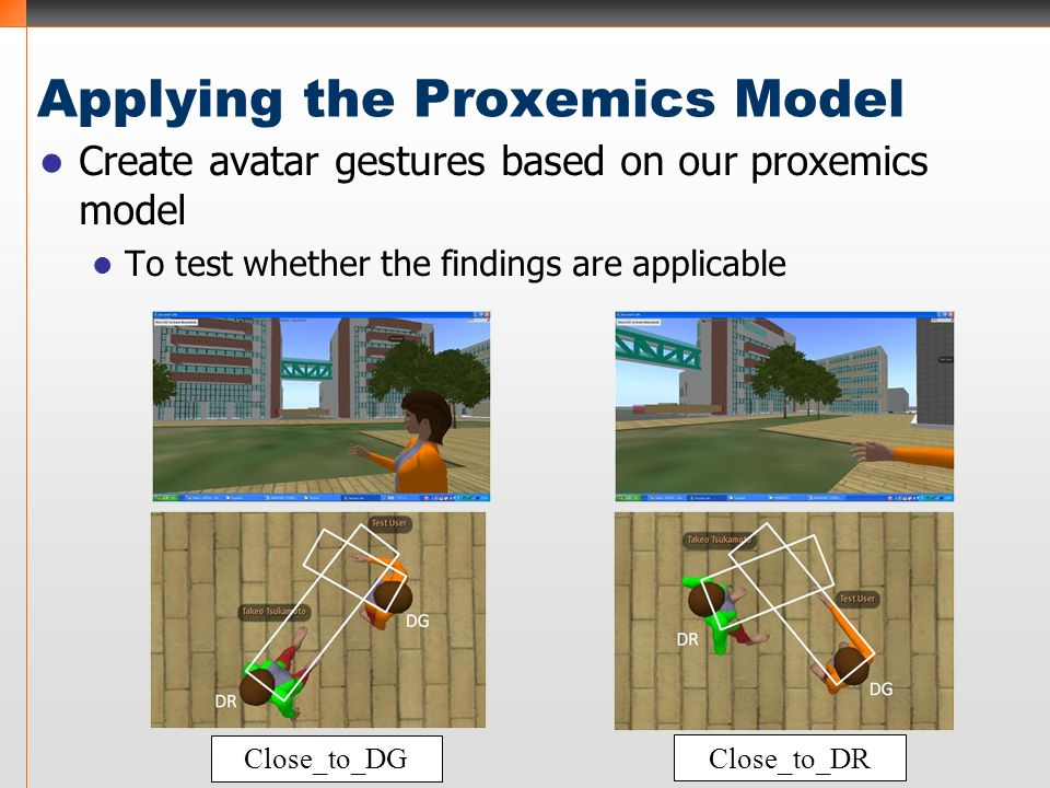 Applying the Proxemics Model Create avatar gestures based on our proxemics model To test whether the findings are applicable Close_to_DG Close_to_DR