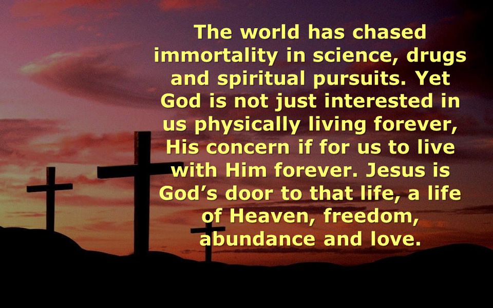 The world has chased immortality in science, drugs and spiritual pursuits. Yet God is not just interested in us physically living forever, His concern