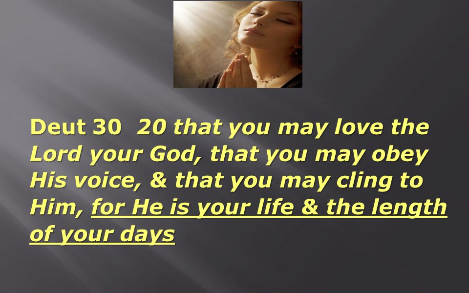 Deut 30 20 that you may love the Lord your God, that you may obey His voice, & that you may cling to Him, for He is your life & the length of your day