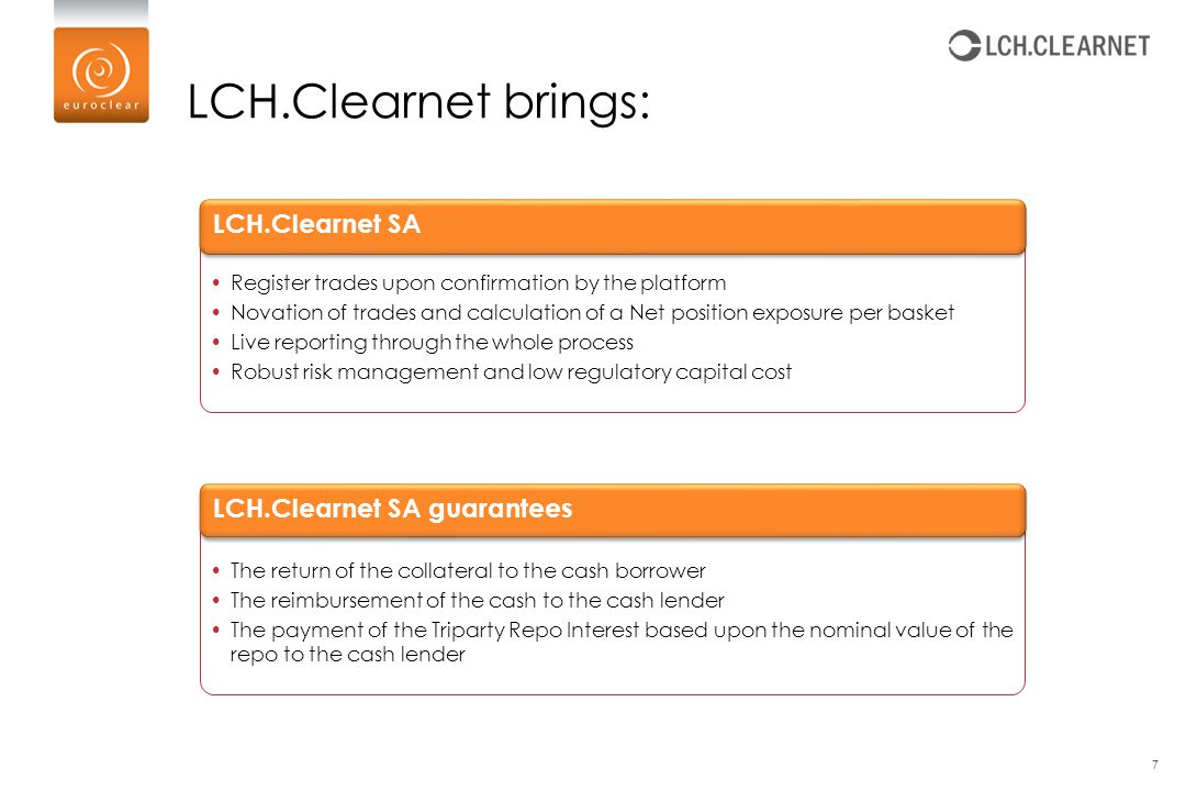 LCH.Clearnet brings: 7 The return of the collateral to the cash borrower The reimbursement of the cash to the cash lender The payment of the Triparty