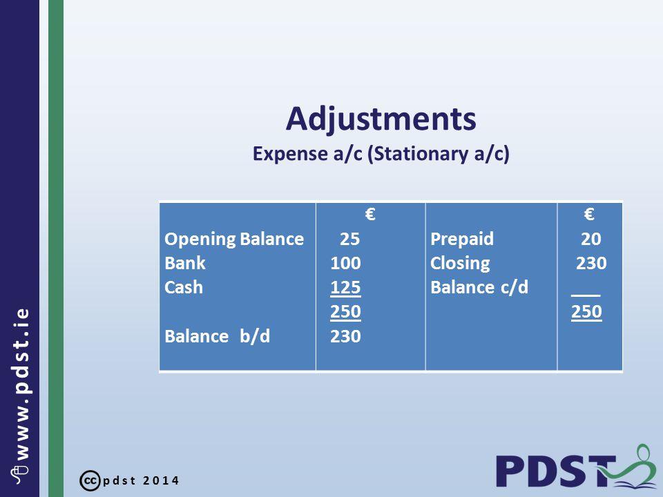 pdst 2014  www. pdst. ie Adjustments Expense a/c (Stationary a/c) Opening Balance Bank Cash Balance b/d € 25 100 125 250 230 Prepaid Closing Balance