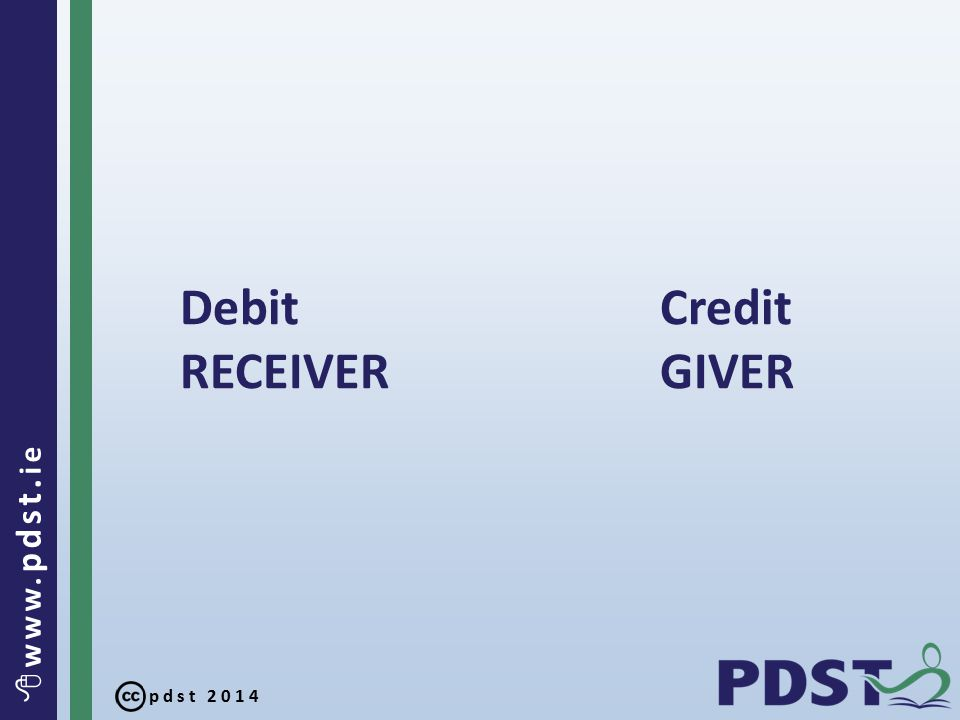 pdst 2014  www. pdst. ie Debit Credit RECEIVER GIVER