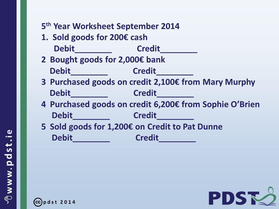pdst 2014  www. pdst. ie 5 th Year Worksheet September 2014 1.