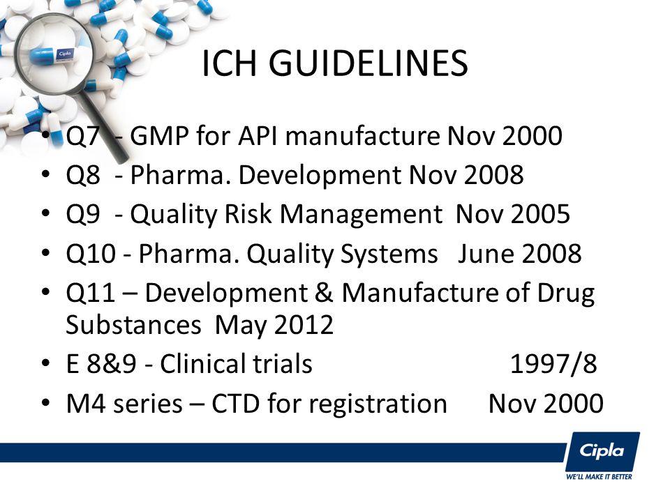 ICH GUIDELINES Q7 - GMP for API manufacture Nov 2000 Q8 - Pharma.