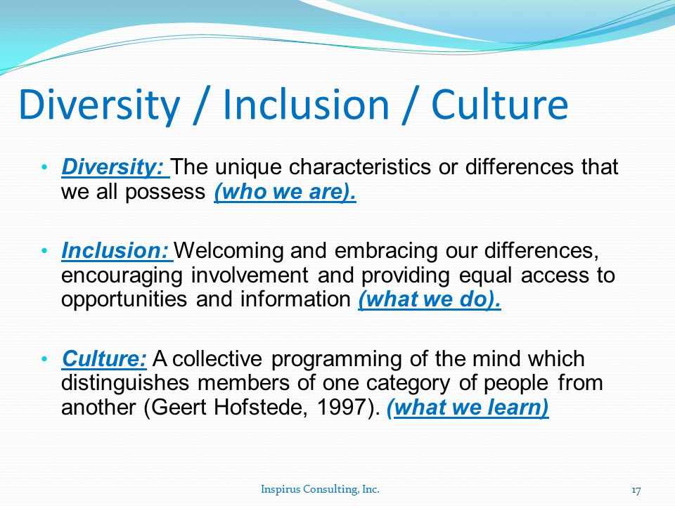 Diversity / Inclusion / Culture Diversity: The unique characteristics or differences that we all possess (who we are).