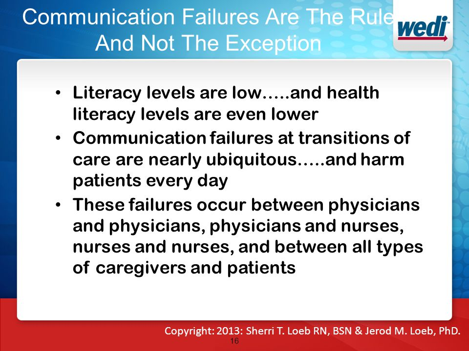 Communication Failures Are The Rule And Not The Exception Literacy levels are low…..and health literacy levels are even lower Communication failures at transitions of care are nearly ubiquitous…..and harm patients every day These failures occur between physicians and physicians, physicians and nurses, nurses and nurses, and between all types of caregivers and patients 16 Copyright: 2013: Sherri T.