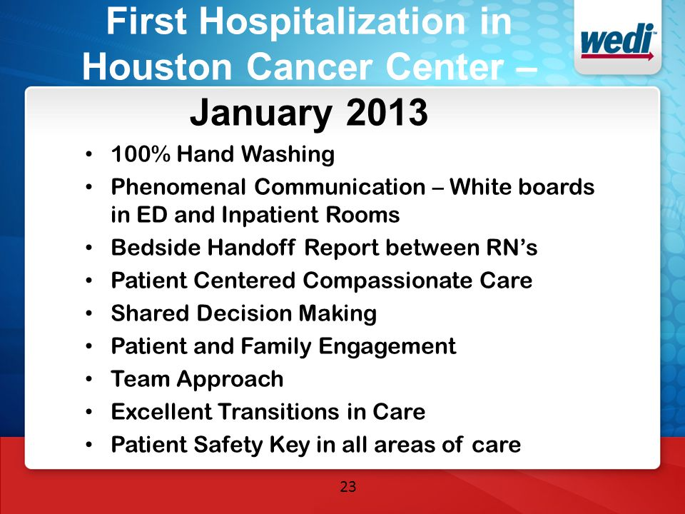 First Hospitalization in Houston Cancer Center – January 2013 100% Hand Washing Phenomenal Communication – White boards in ED and Inpatient Rooms Beds