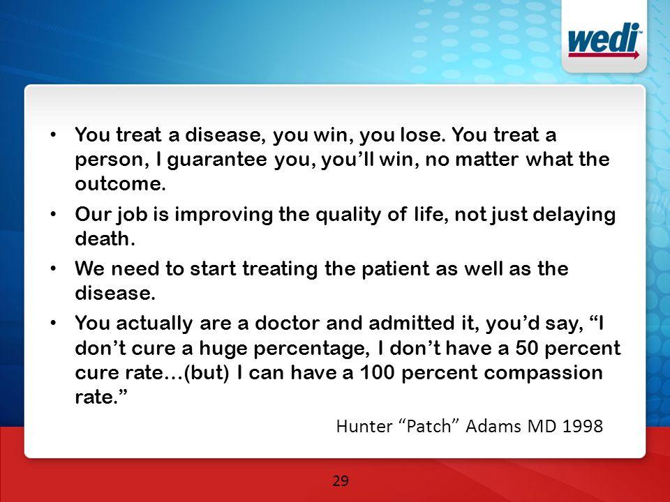 You treat a disease, you win, you lose.