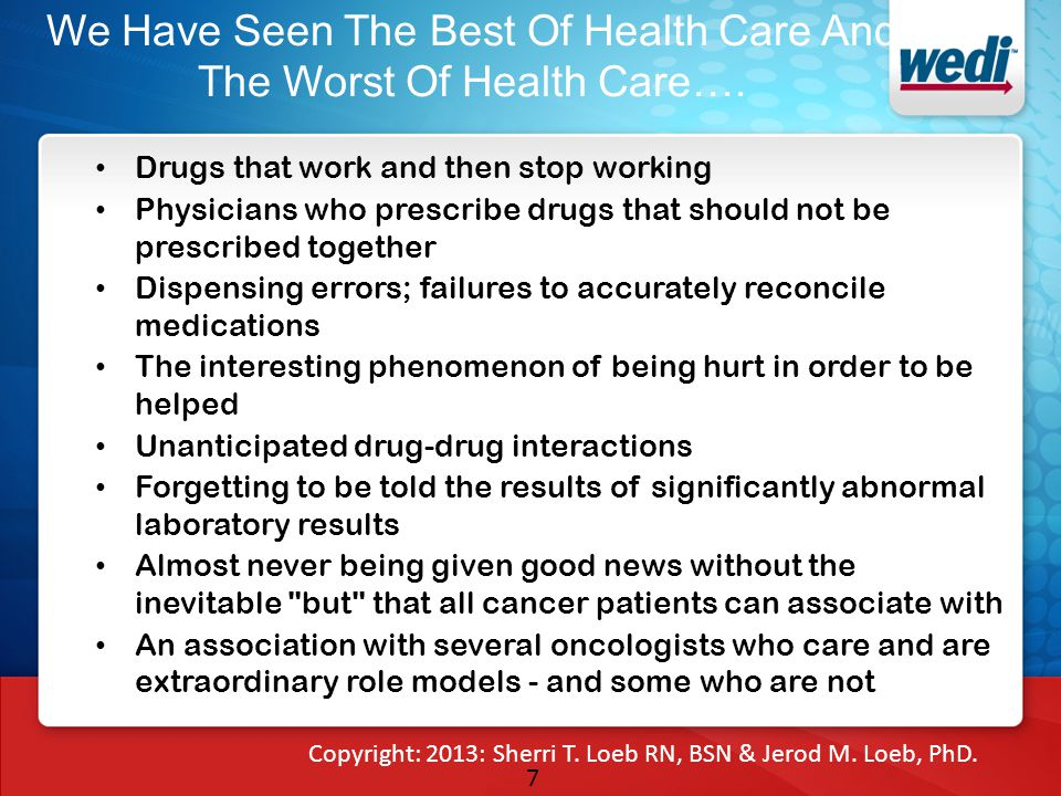 7 We Have Seen The Best Of Health Care And The Worst Of Health Care…. Drugs that work and then stop working Physicians who prescribe drugs that should