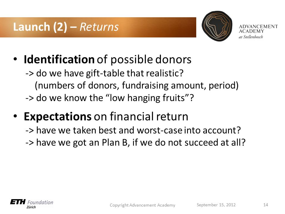 Launch (2) – Returns Identification of possible donors -> do we have gift-table that realistic.