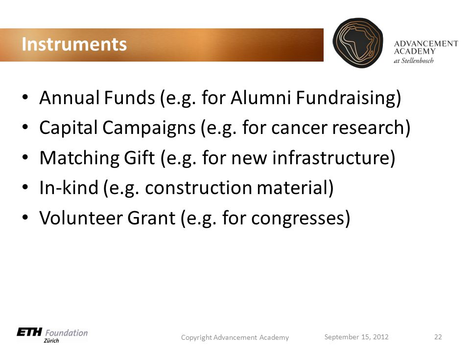 Instruments Annual Funds (e.g. for Alumni Fundraising) Capital Campaigns (e.g.
