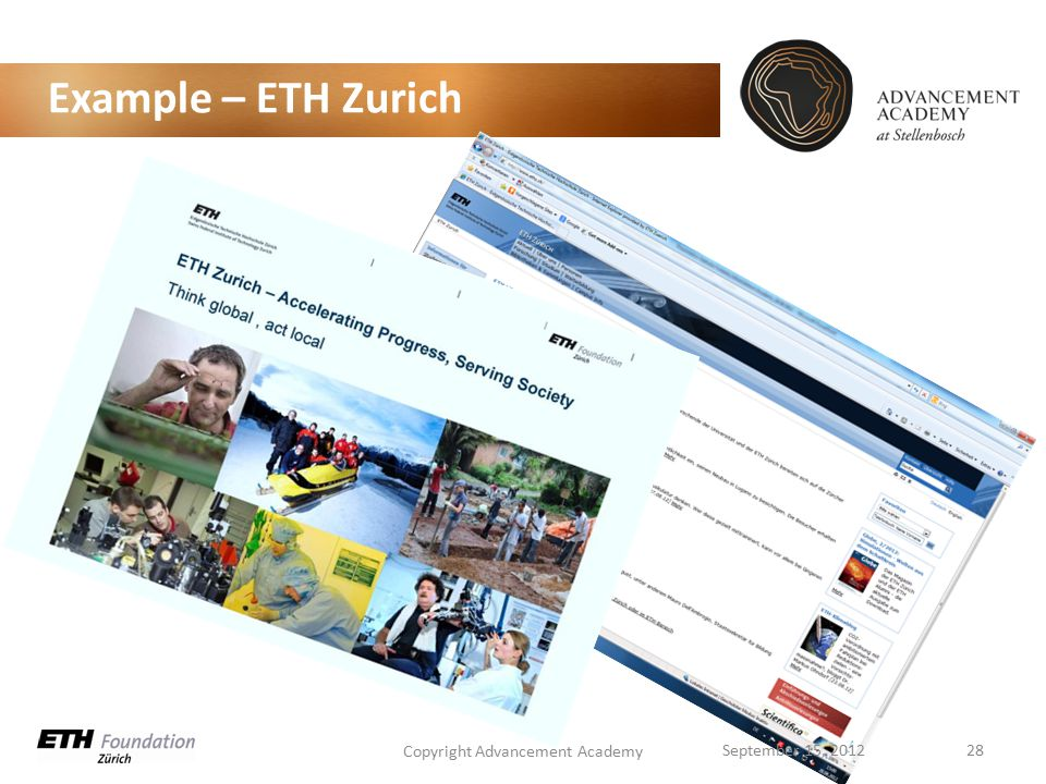 Example – ETH Zurich Copyright Advancement Academy 28September 15, 2012