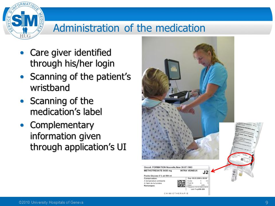 9 ©2010 University Hospitals of Geneva Administration of the medication Care giver identified through his/her loginCare giver identified through his/h