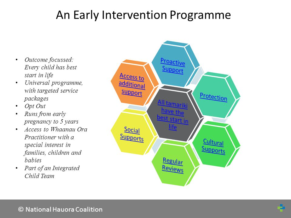 © National Hauora Coalition Proactive Support Examples of ServicesDelivered by Full assessment of needs and risks by 12 weeks of pregnancy MPT Practitioner and through engagements with relevant service providers providers Advice during pregnancy on health protective factors such as nutrition, smoking, alcohol and breastfeeding Whānau have the chance to discuss becoming a parent /care giver, and to discuss what they can expect from local and district services Face to face support with caring for a new born and adjusting to life as a new parent, including seeking support of employees to provide flexible working conditions