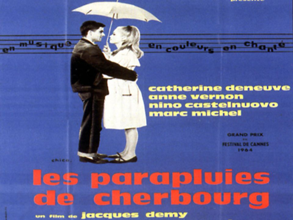 SYNOPSIS Madame Emery and her 17-year-old daughter Geneviève (Catherine Deneuve) sell umbrellas in the town of Cherbourg, Normandy Deneuve falls in love with 20-year-old Guy (Nino Castelnuovo), a mechanic who lives with and cares for his sick Godmother, Elise The 2 want to get married, but Guy must leave for 2 years for a tour of duty in the Algerian War