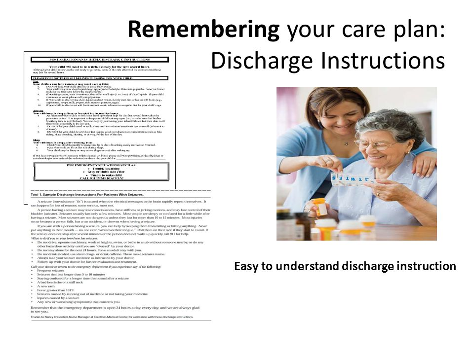 Remembering your care plan: Discharge Instructions Easy to understand discharge instruction