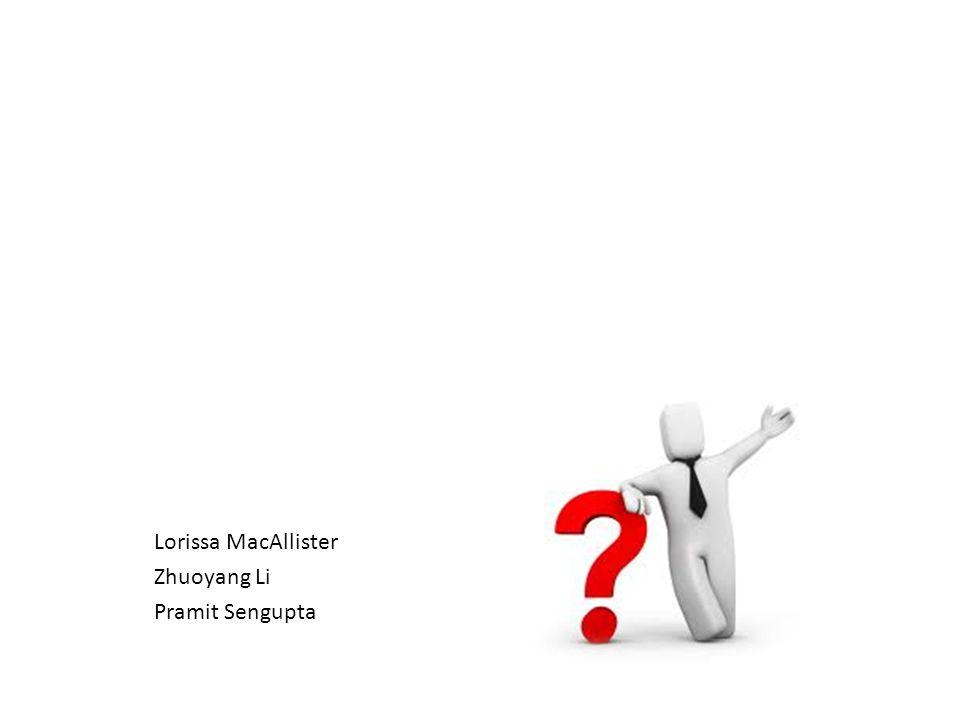 Lorissa MacAllister Zhuoyang Li Pramit Sengupta