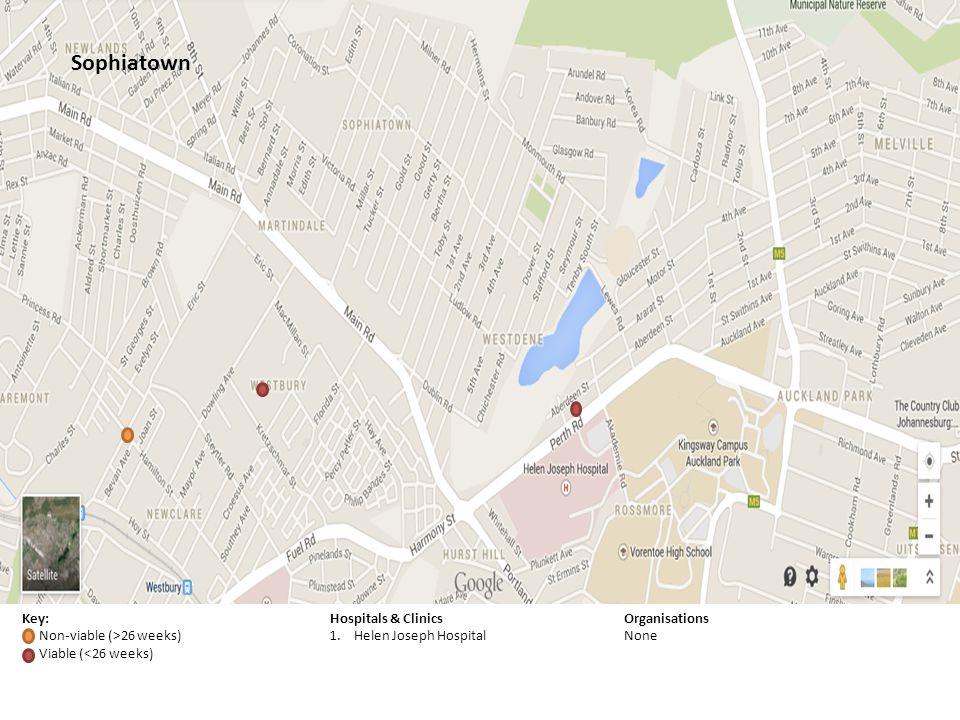 Key: Non-viable (>26 weeks) Viable (<26 weeks) Hospitals & Clinics 1.Helen Joseph Hospital Organisations None Sophiatown