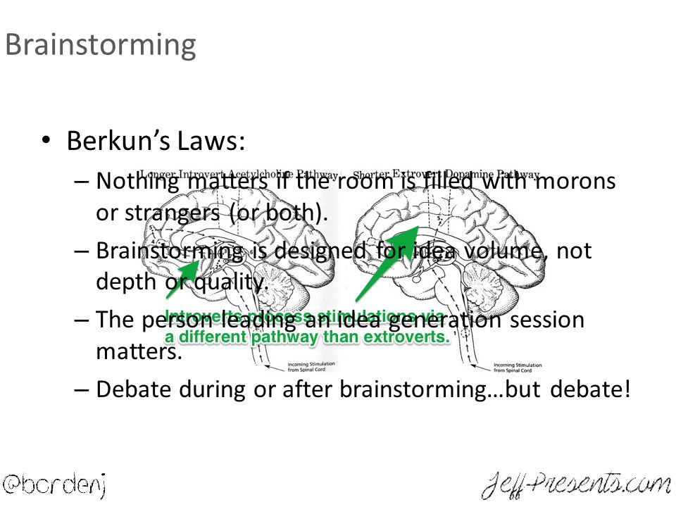 Brainstorming Berkun's Laws: – Nothing matters if the room is filled with morons or strangers (or both).
