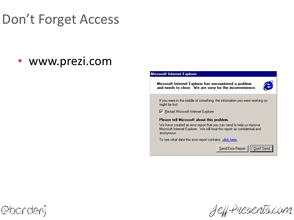 Don't Forget Access www.prezi.com