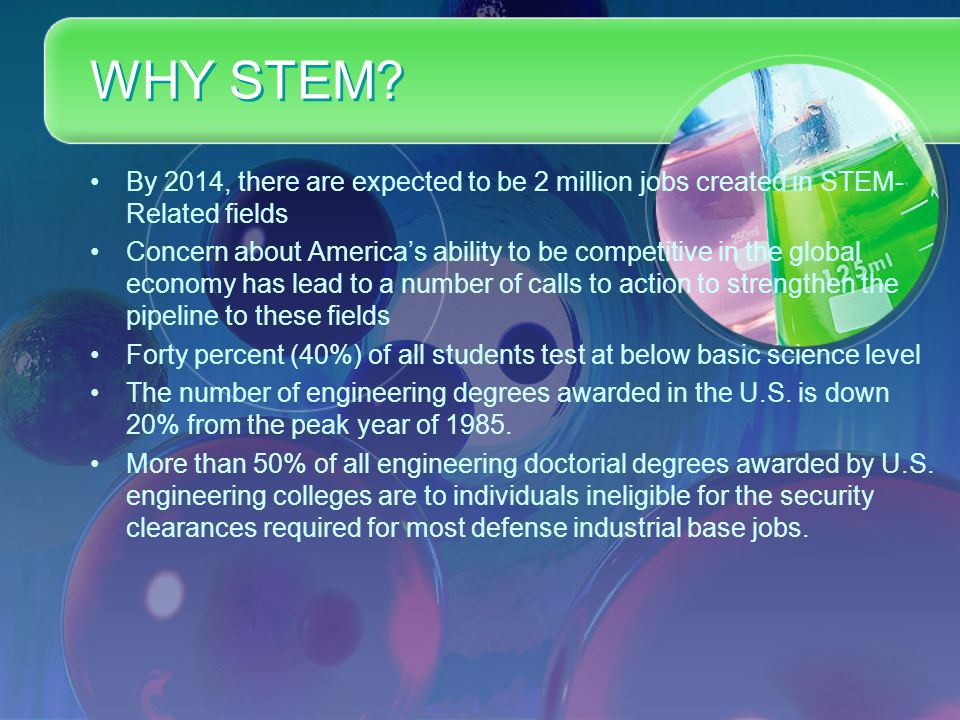 WHY STEM? By 2014, there are expected to be 2 million jobs created in STEM- Related fields Concern about America's ability to be competitive in the gl