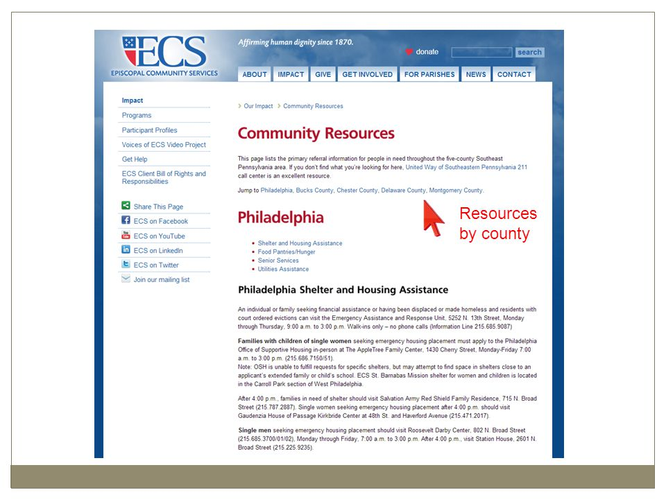 Several Web Shots of Community Resource Page Resources by county