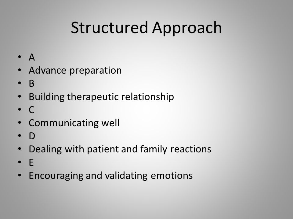 Structured Approach A Advance preparation B Building therapeutic relationship C Communicating well D Dealing with patient and family reactions E Encou