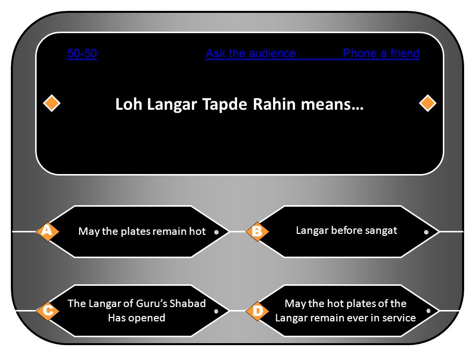 Loh Langar Tapde Rahin means… A B C D May the plates remain hot Langar before sangat The Langar of Guru's Shabad Has opened May the hot plates of the