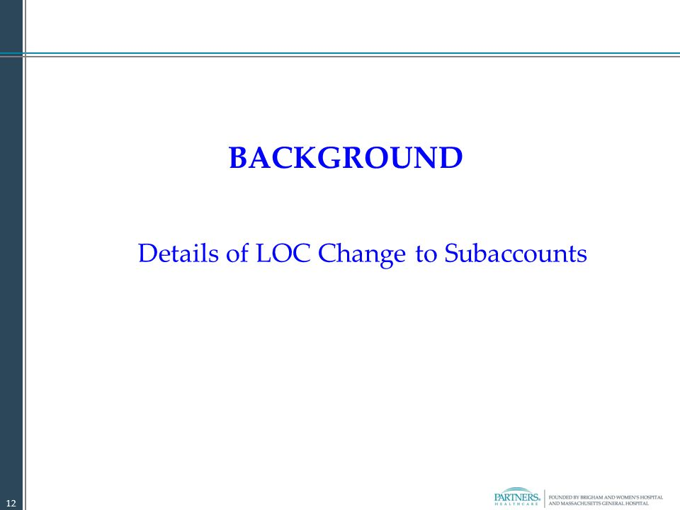 BACKGROUND Details of LOC Change to Subaccounts 12