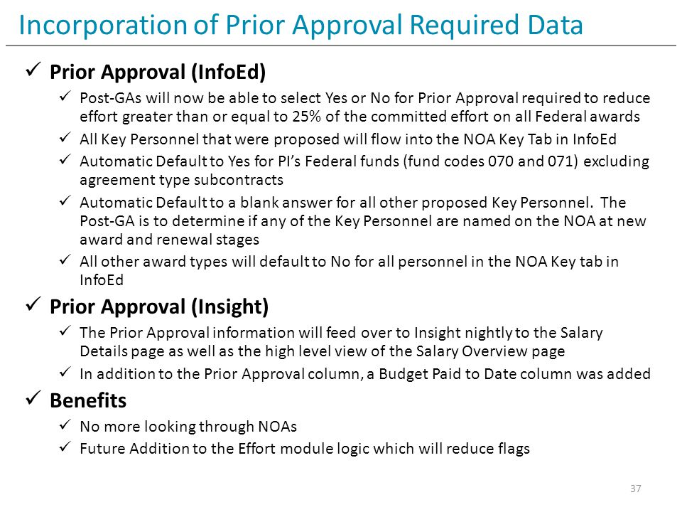 Incorporation of Prior Approval Required Data Prior Approval (InfoEd) Post-GAs will now be able to select Yes or No for Prior Approval required to red