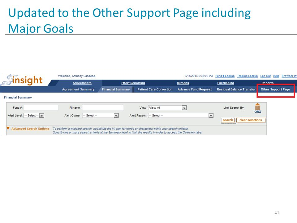 Updated to the Other Support Page including Major Goals 41