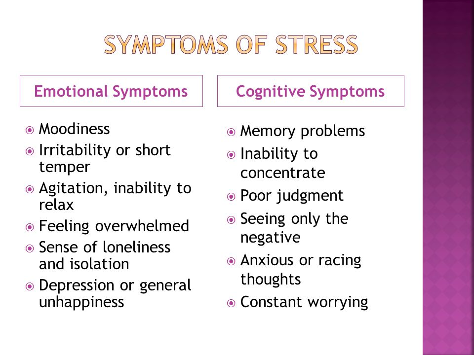 Emotional SymptomsCognitive Symptoms  Moodiness  Irritability or short temper  Agitation, inability to relax  Feeling overwhelmed  Sense of loneliness and isolation  Depression or general unhappiness  Memory problems  Inability to concentrate  Poor judgment  Seeing only the negative  Anxious or racing thoughts  Constant worrying