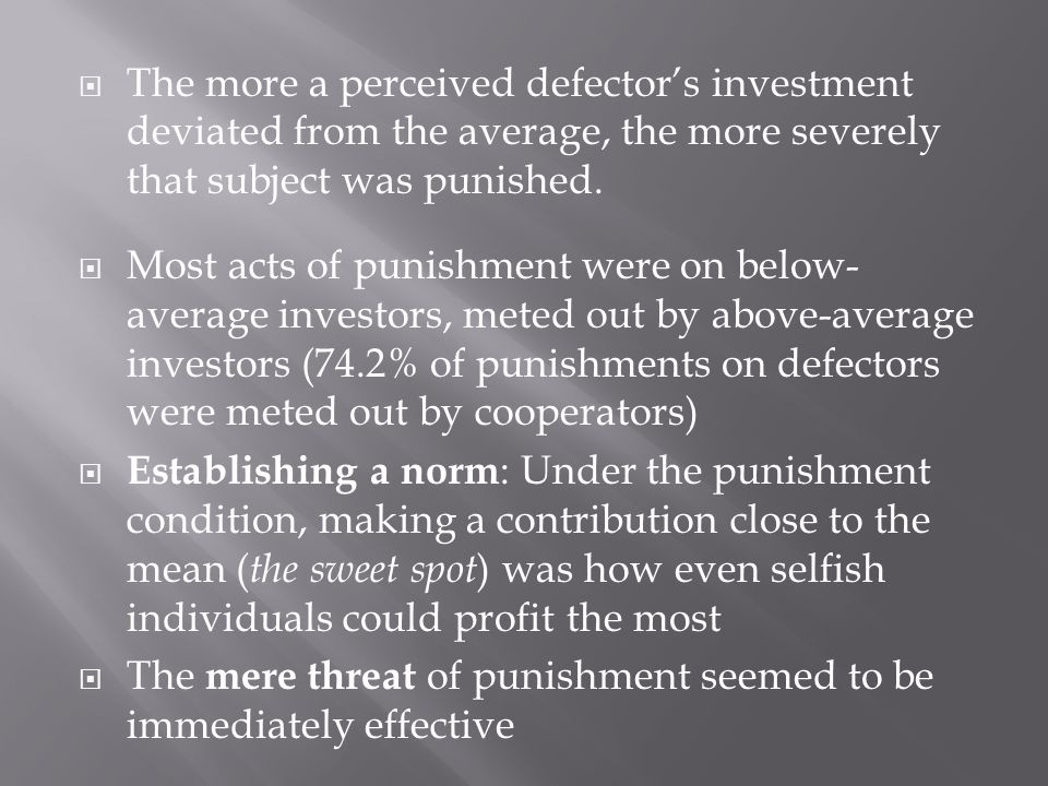  The more a perceived defector's investment deviated from the average, the more severely that subject was punished.