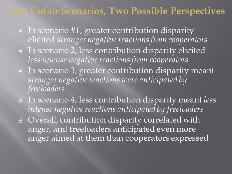  In scenario #1, greater contribution disparity elicited stronger negative reactions from cooperators  In scenario 2, less contribution disparity elicited less intense negative reactions from cooperators  In scenario 3, greater contribution disparity meant stronger negative reactions were anticipated by freeloaders  In scenario 4, less contribution disparity meant less intense negative reactions anticipated by freeloaders  Overall, contribution disparity correlated with anger, and freeloaders anticipated even more anger aimed at them than cooperators expressed Four Unfair Scenarios, Two Possible Perspectives