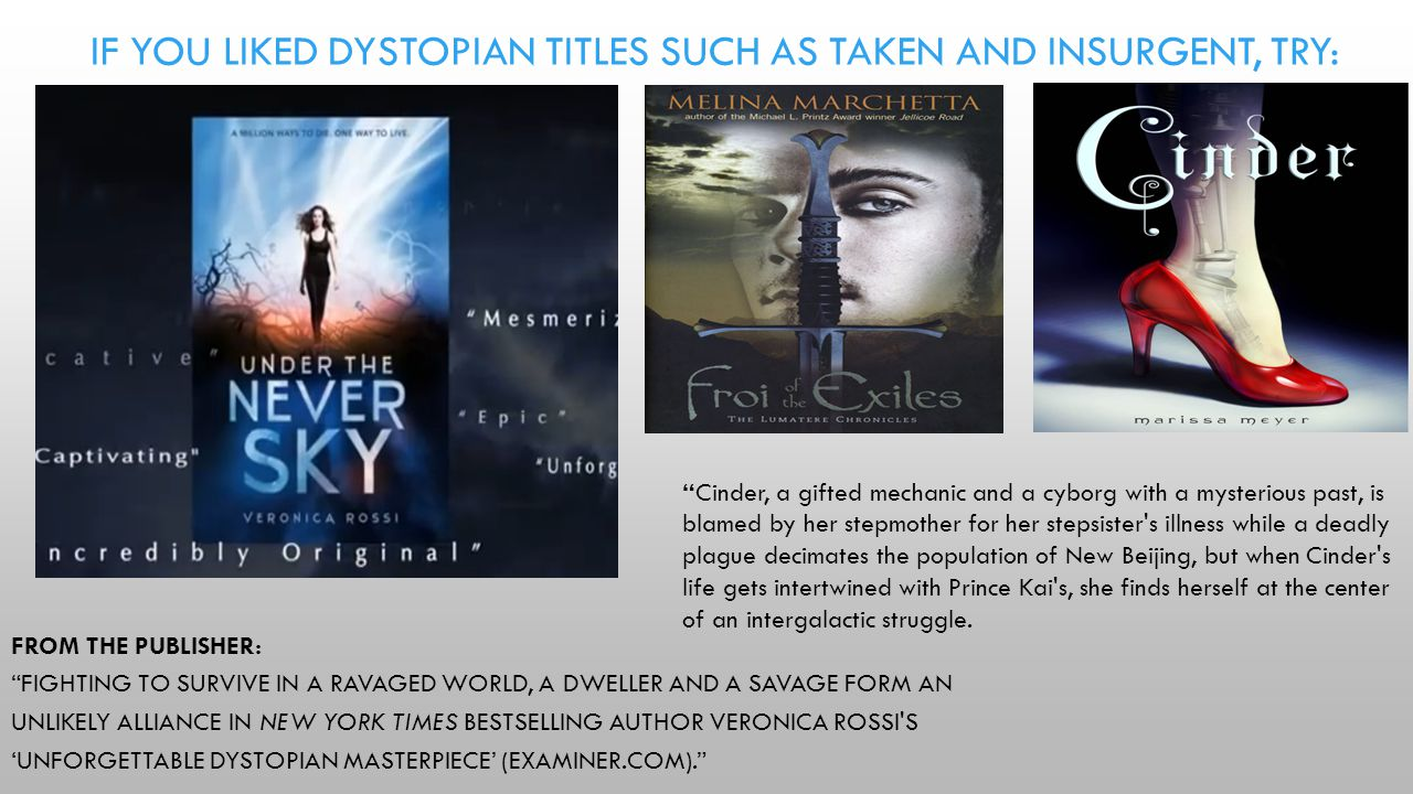 FROM THE PUBLISHER: FIGHTING TO SURVIVE IN A RAVAGED WORLD, A DWELLER AND A SAVAGE FORM AN UNLIKELY ALLIANCE IN NEW YORK TIMES BESTSELLING AUTHOR VERONICA ROSSI S 'UNFORGETTABLE DYSTOPIAN MASTERPIECE' (EXAMINER.COM). IF YOU LIKED DYSTOPIAN TITLES SUCH AS TAKEN AND INSURGENT, TRY: NOTE: To change images on this slide, select a picture and delete it.